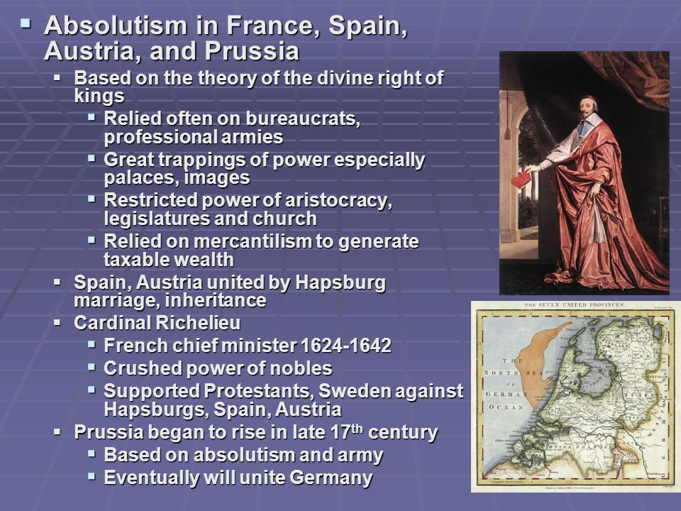 Absolutism in France, Spain, Austria, and Prussia