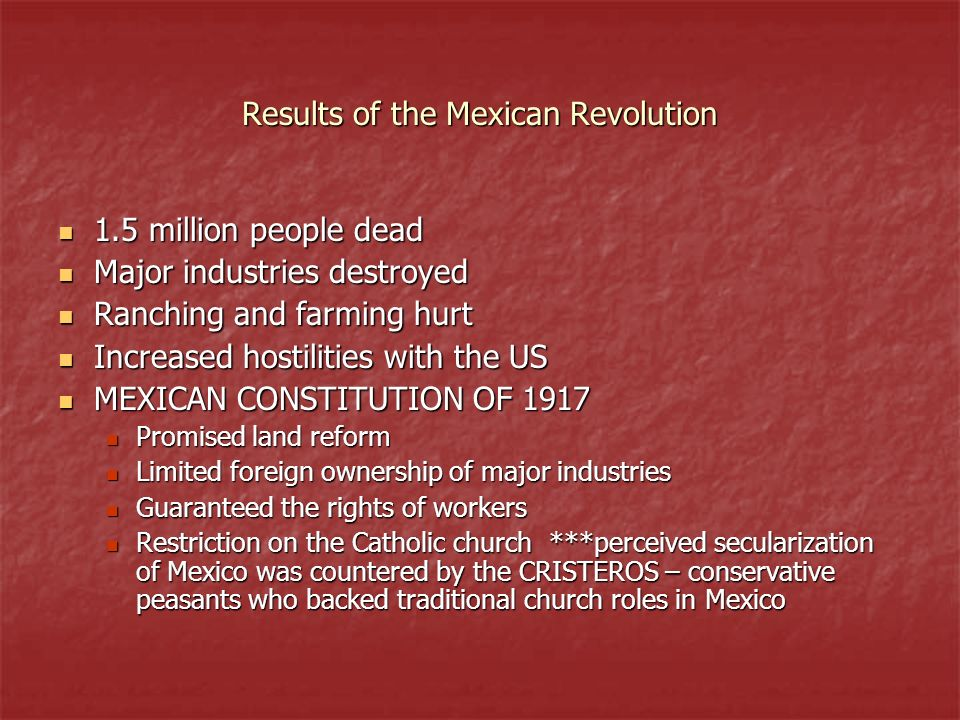 Results of the Mexican Revolution
