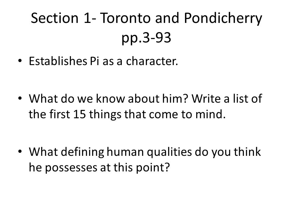 Section 1- Toronto and Pondicherry pp.3-93