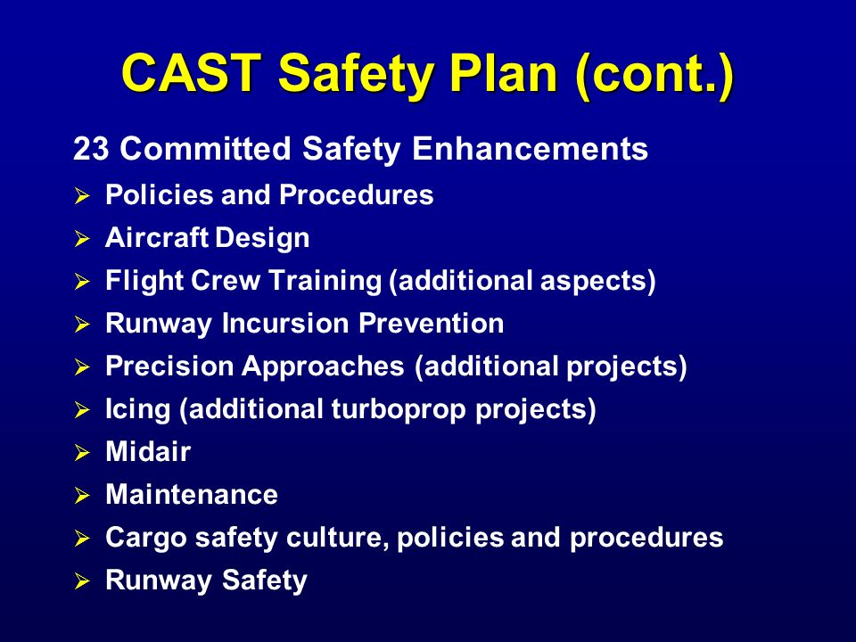 CAST Safety Plan (cont.)