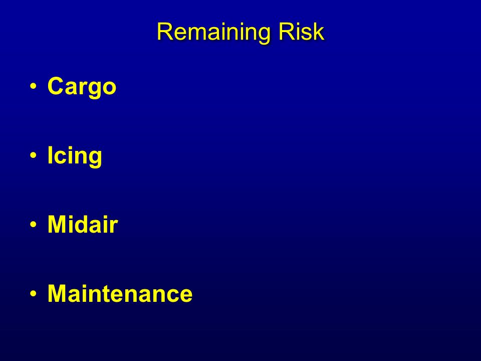 Remaining Risk Cargo Icing Midair Maintenance