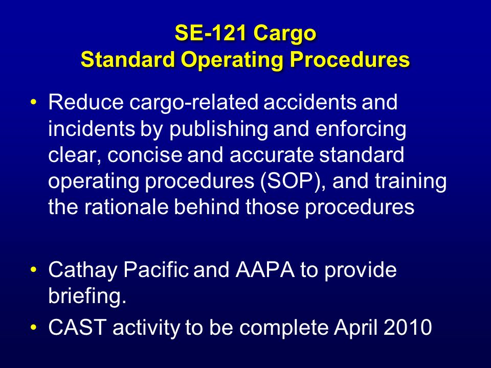 SE-121 Cargo Standard Operating Procedures