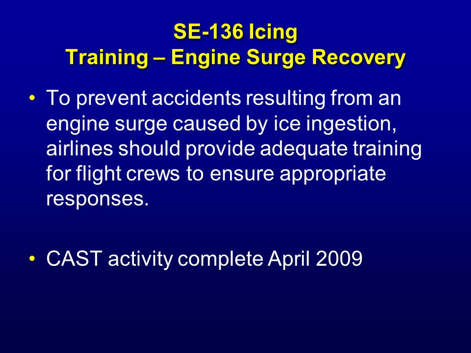 SE-136 Icing Training – Engine Surge Recovery