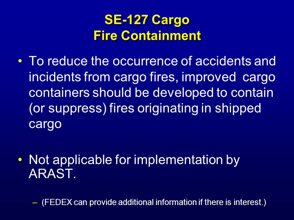 SE-127 Cargo Fire Containment
