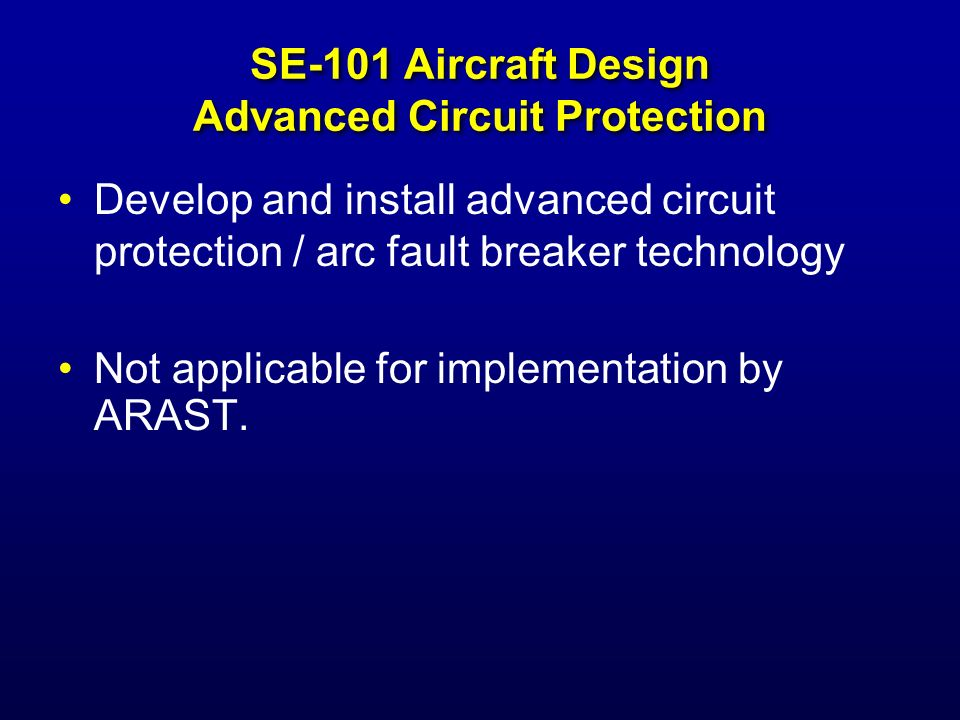 SE-101 Aircraft Design Advanced Circuit Protection