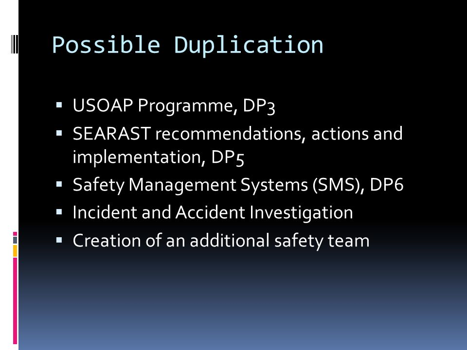 Possible Duplication USOAP Programme, DP3