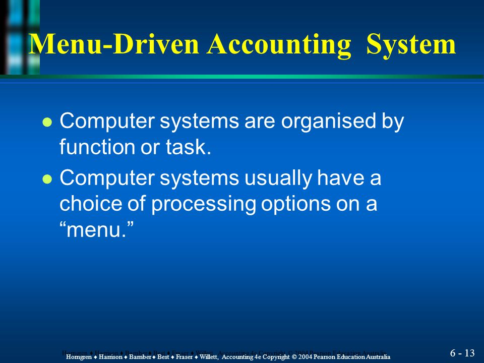 Menu-Driven Accounting System