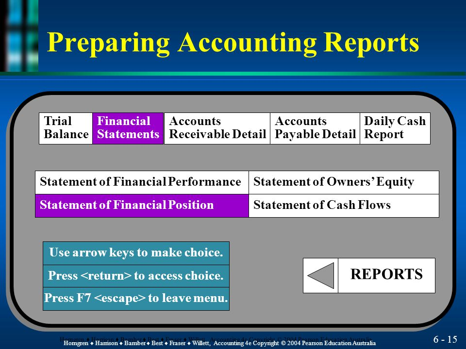 Preparing Accounting Reports