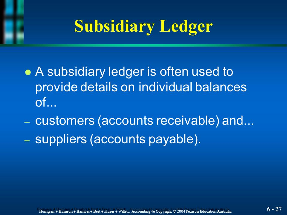 Subsidiary Ledger A subsidiary ledger is often used to provide details on individual balances of...