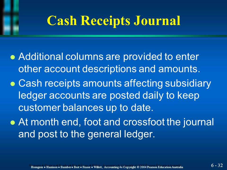 Cash Receipts Journal Additional columns are provided to enter other account descriptions and amounts.