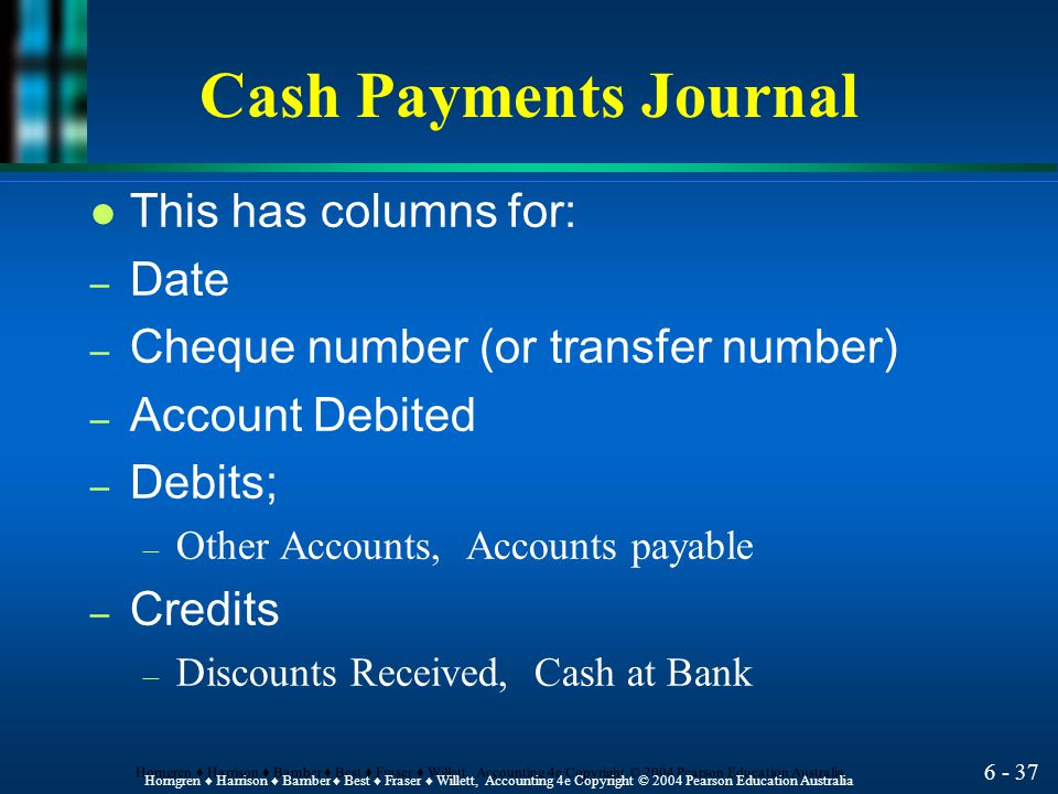 Cash Payments Journal This has columns for: Date