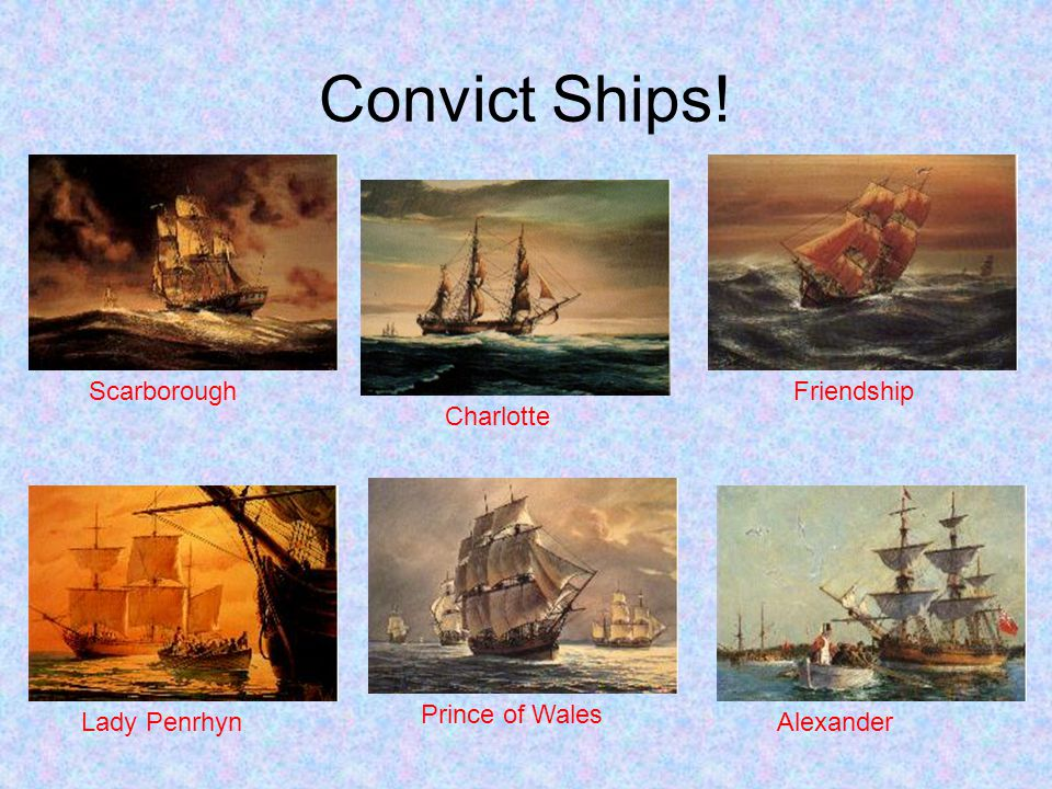 Convict Ships! Scarborough Friendship Charlotte Prince of Wales