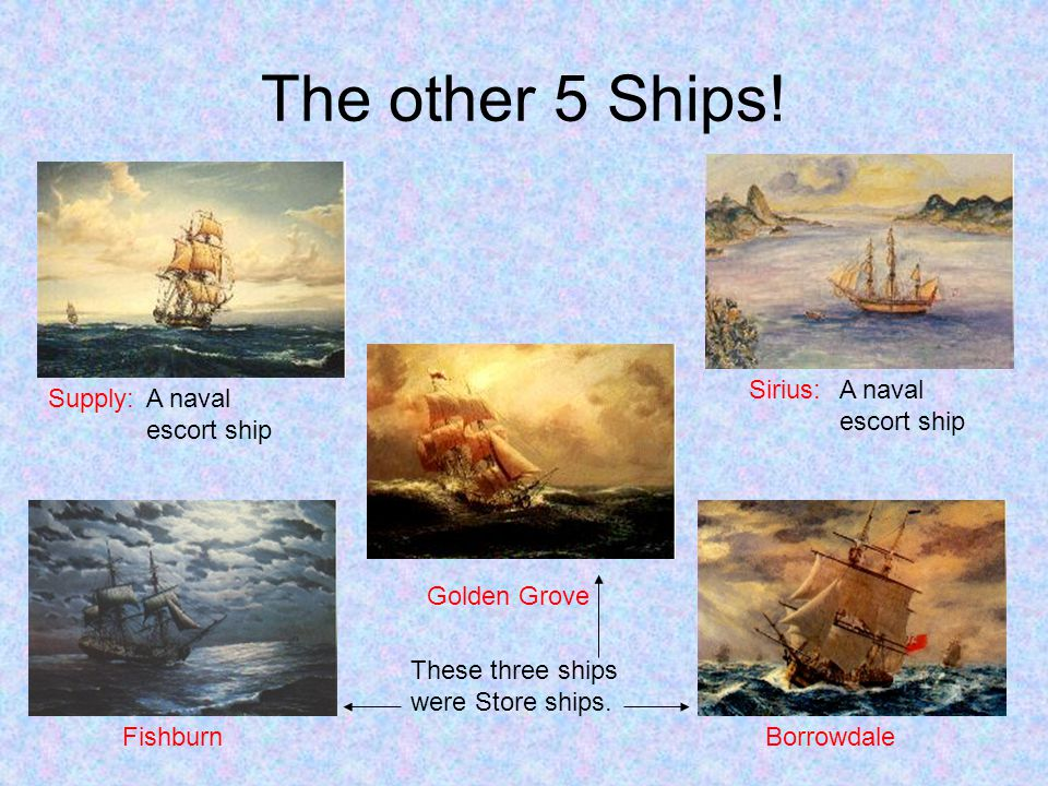 The other 5 Ships! Sirius: A naval escort ship Supply:
