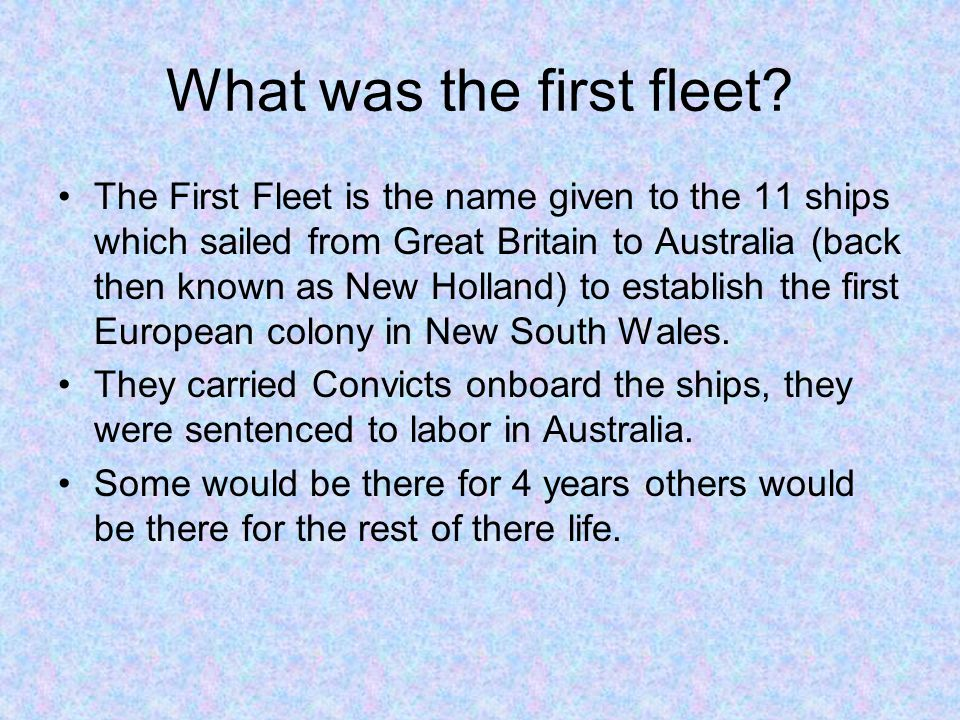 What was the first fleet