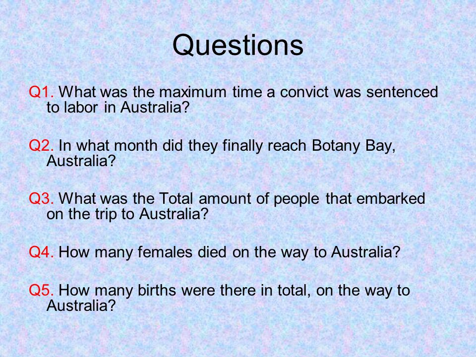 Questions Q1. What was the maximum time a convict was sentenced to labor in Australia