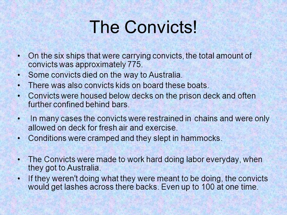 The Convicts! On the six ships that were carrying convicts, the total amount of convicts was approximately 775.