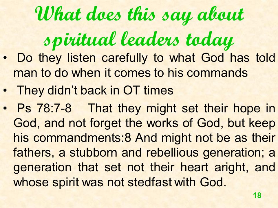What does this say about spiritual leaders today