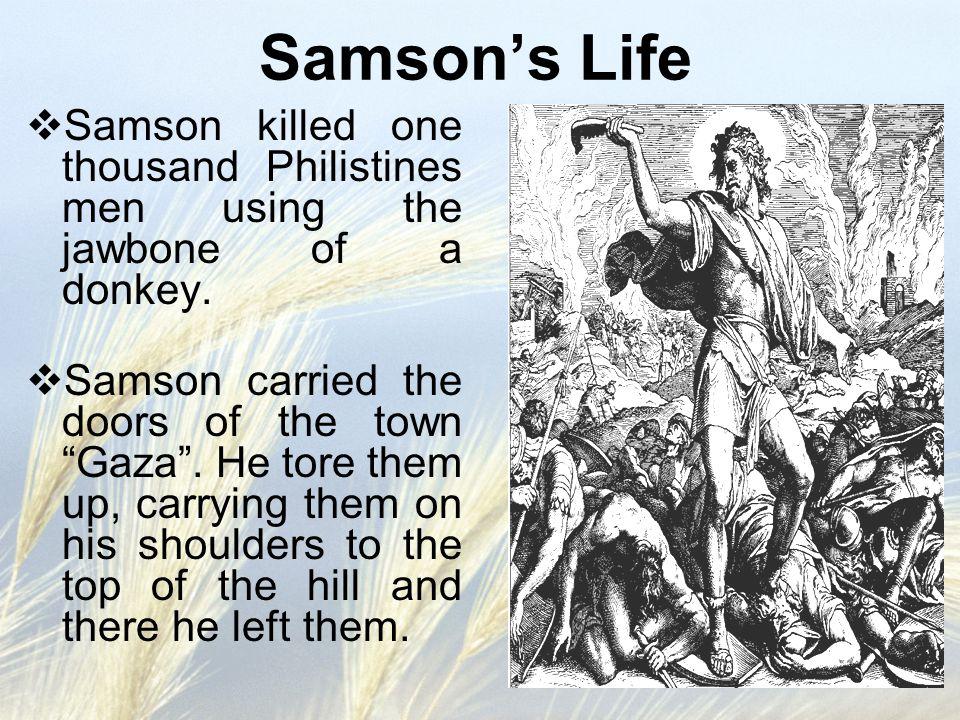 Samson's Life Samson killed one thousand Philistines men using the jawbone of a donkey.