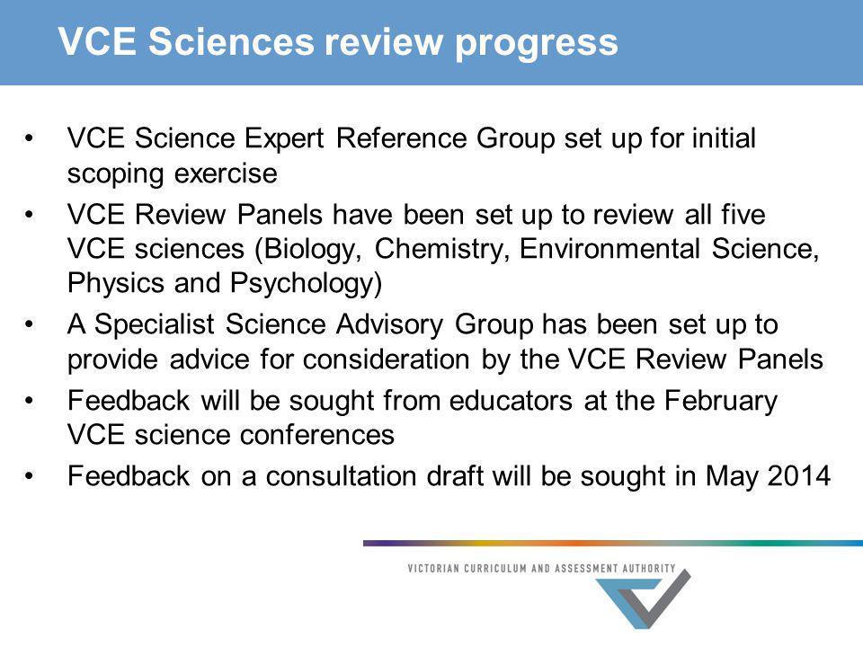VCE Sciences review progress