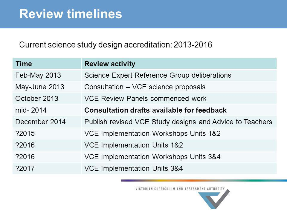 Review timelines Current science study design accreditation: 2013-2016