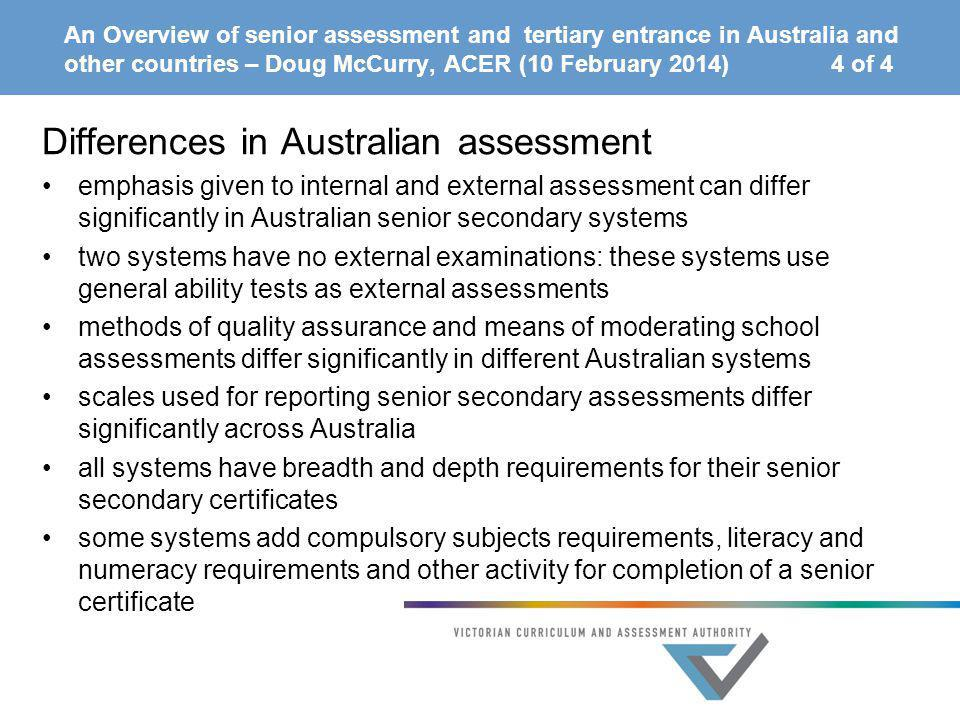 Differences in Australian assessment