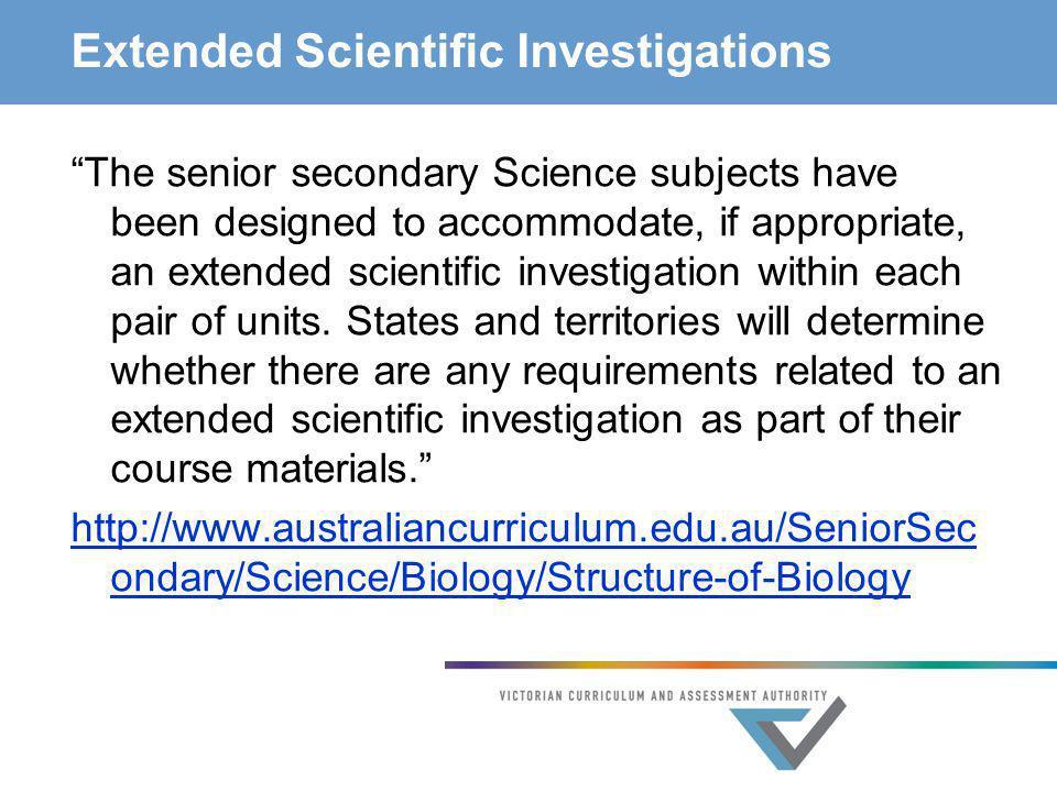 Extended Scientific Investigations
