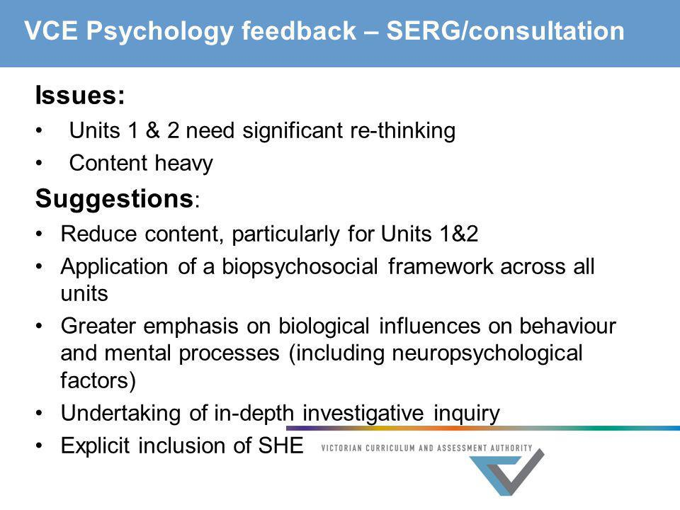VCE Psychology feedback – SERG/consultation