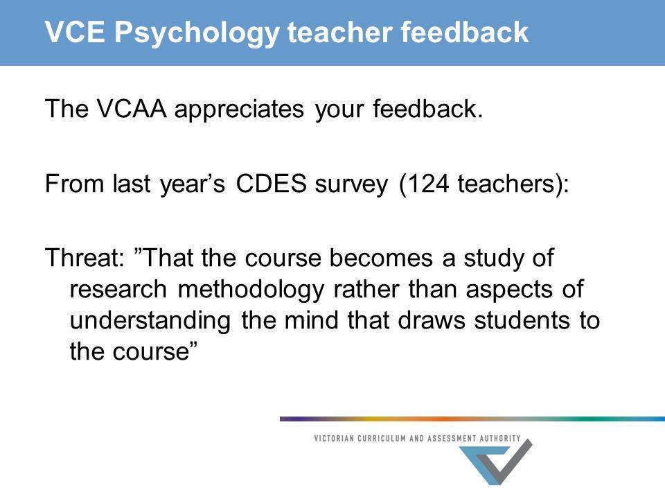 VCE Psychology teacher feedback