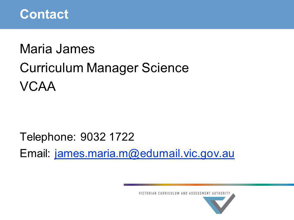 Curriculum Manager Science VCAA