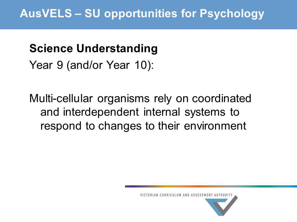 AusVELS – SU opportunities for Psychology