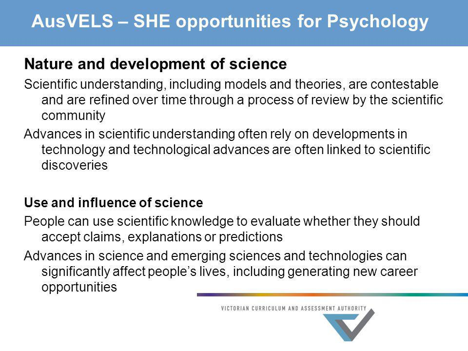 AusVELS – SHE opportunities for Psychology