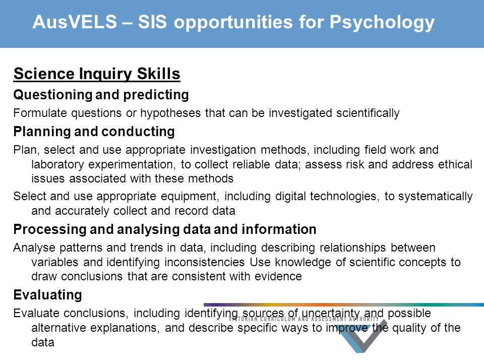 AusVELS – SIS opportunities for Psychology
