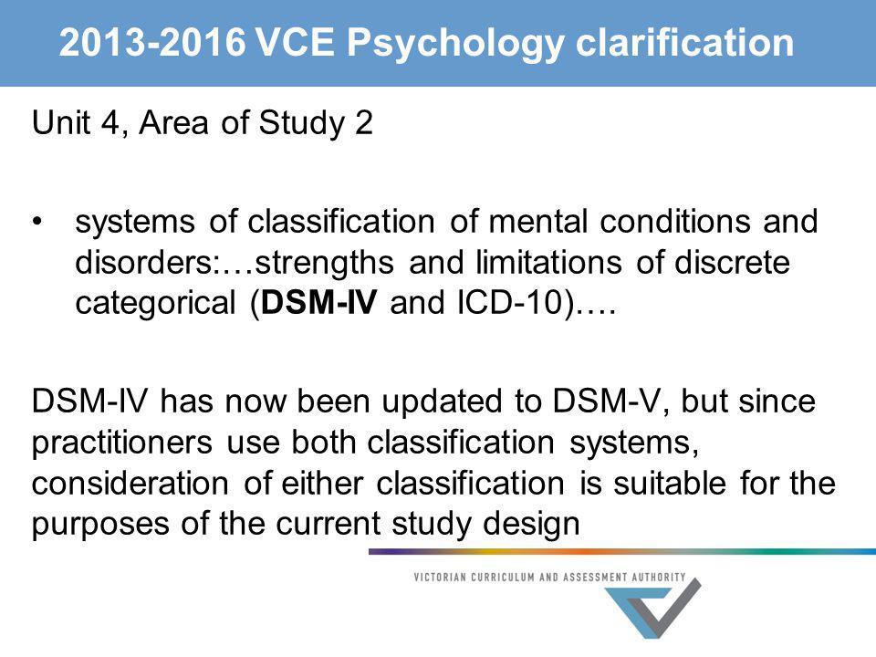 2013-2016 VCE Psychology clarification