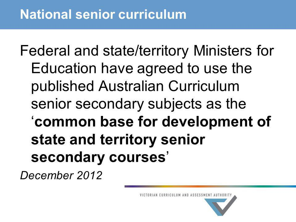 National senior curriculum