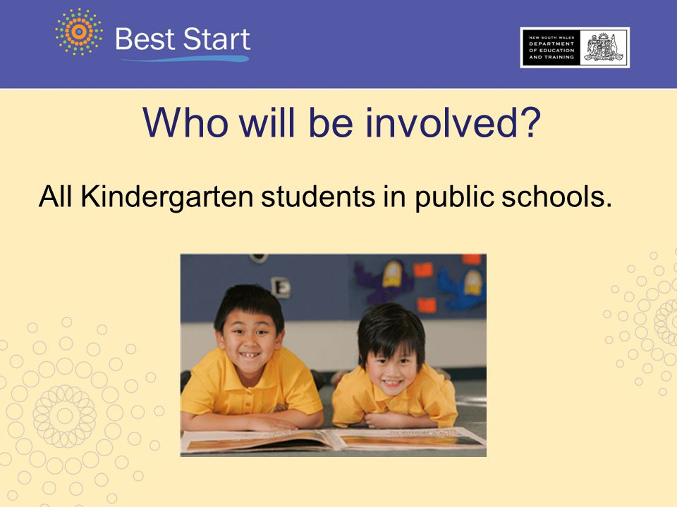 Who will be involved All Kindergarten students in public schools.