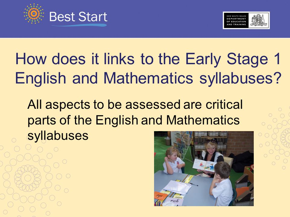 How does it links to the Early Stage 1 English and Mathematics syllabuses