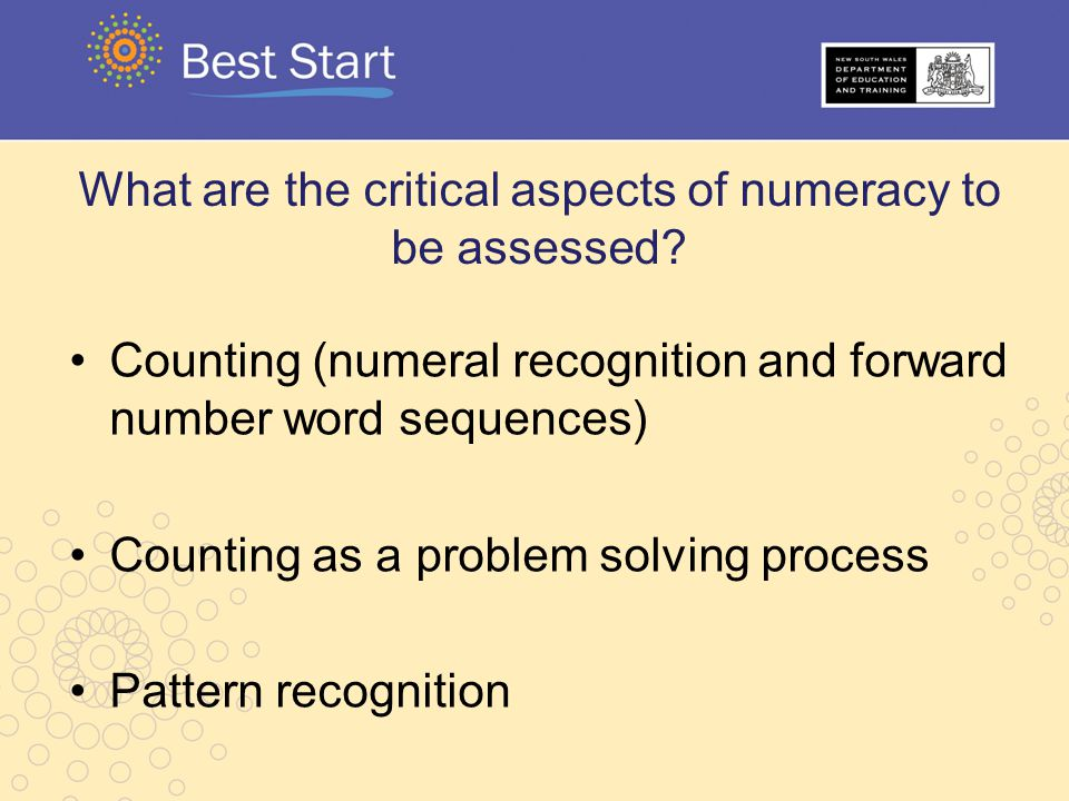What are the critical aspects of numeracy to be assessed
