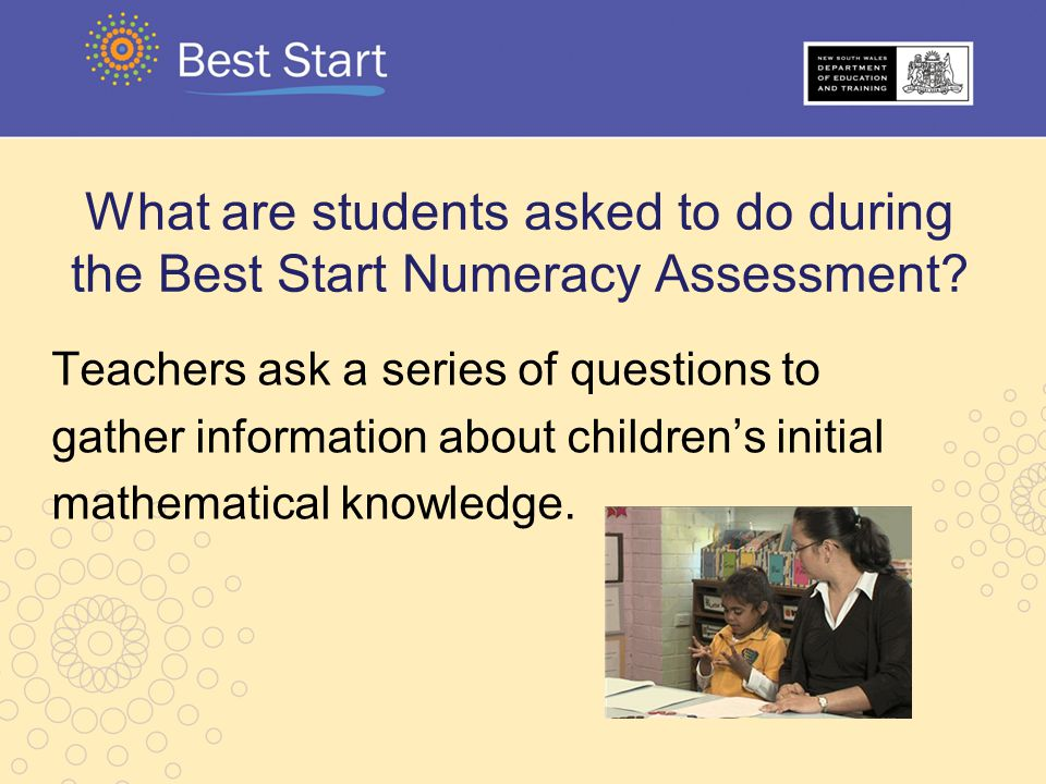 What are students asked to do during the Best Start Numeracy Assessment