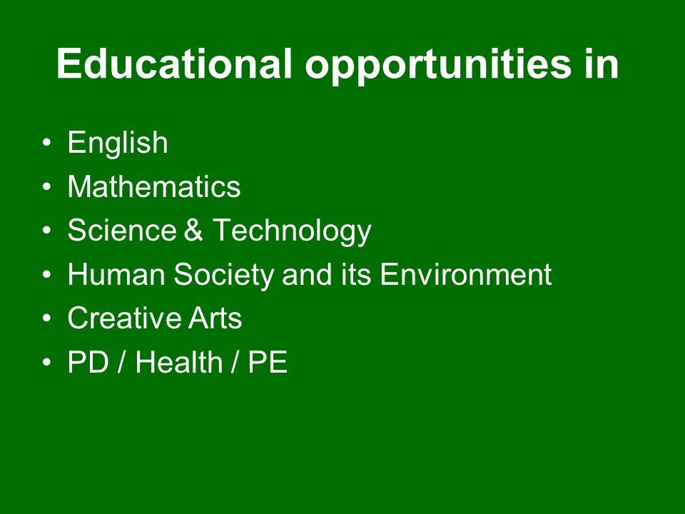 Educational opportunities in