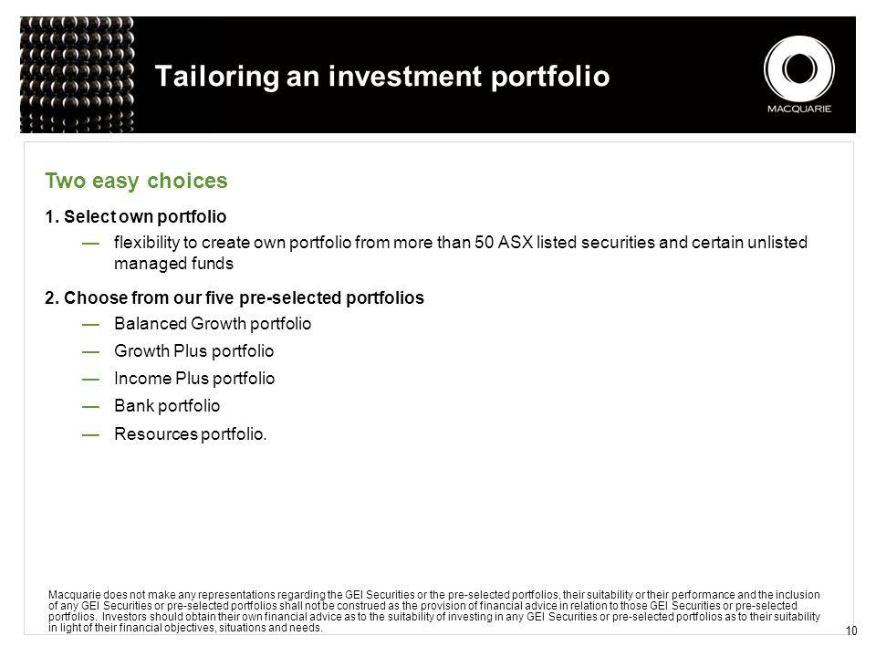 Tailoring an investment portfolio