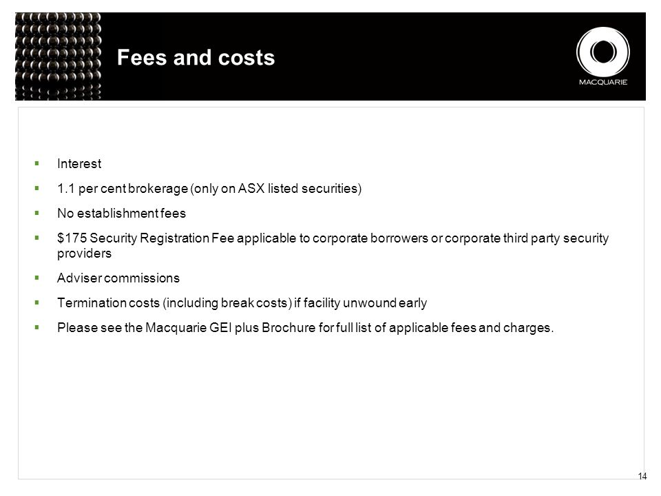 Fees and costs Interest
