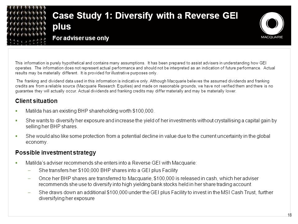Case Study 1: Diversify with a Reverse GEI plus For adviser use only
