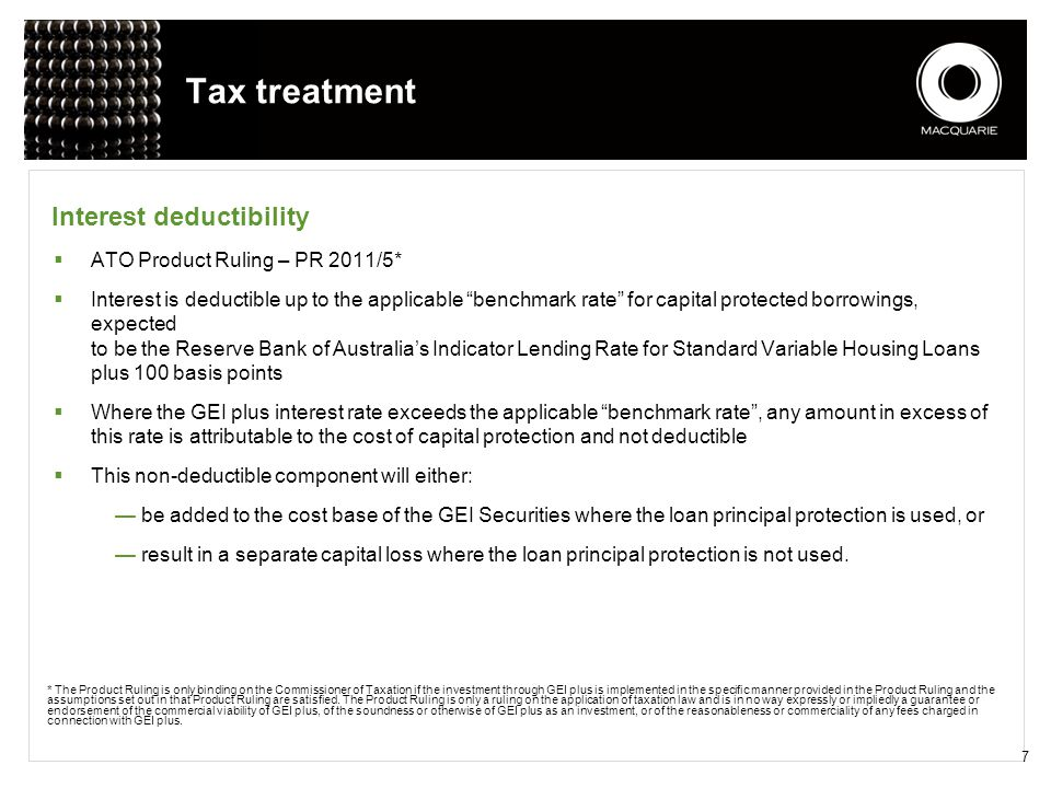 Tax treatment Interest deductibility ATO Product Ruling – PR 2011/5*