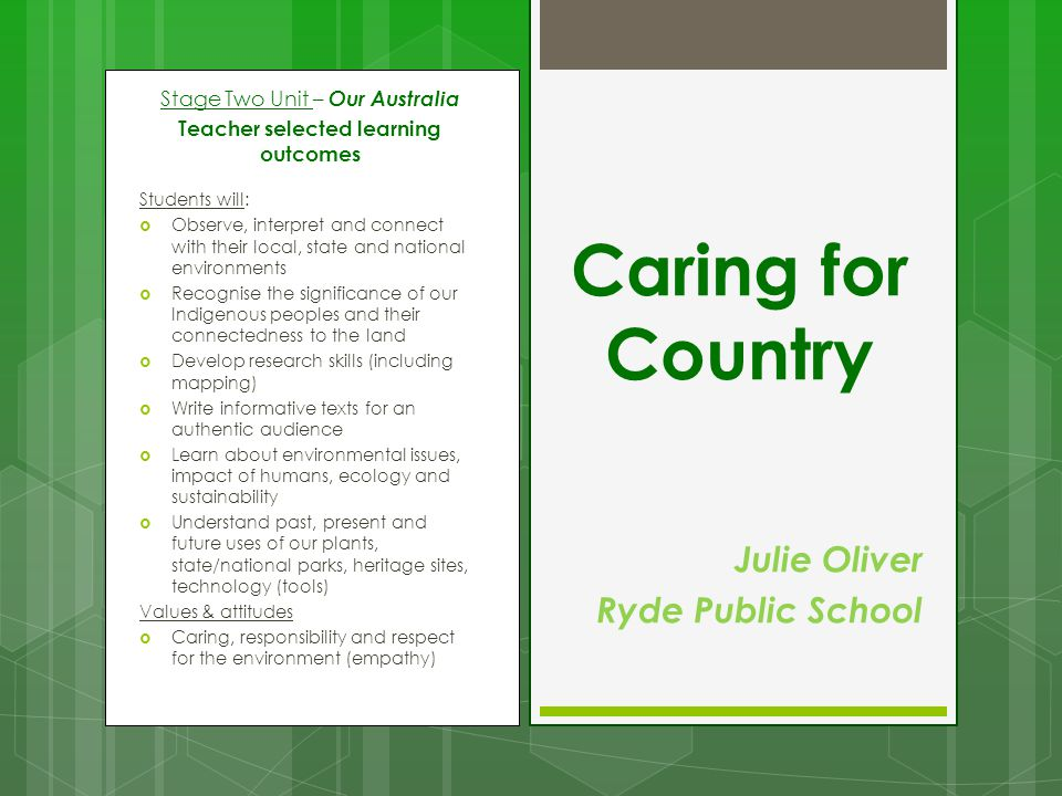 Caring for Country Julie Oliver Ryde Public School