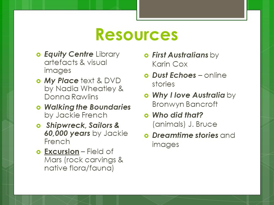 Resources Equity Centre Library artefacts & visual images