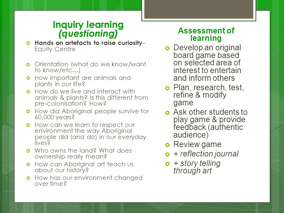 Inquiry learning (questioning)