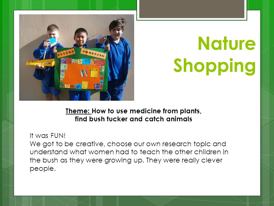 Nature Shopping Theme: How to use medicine from plants,