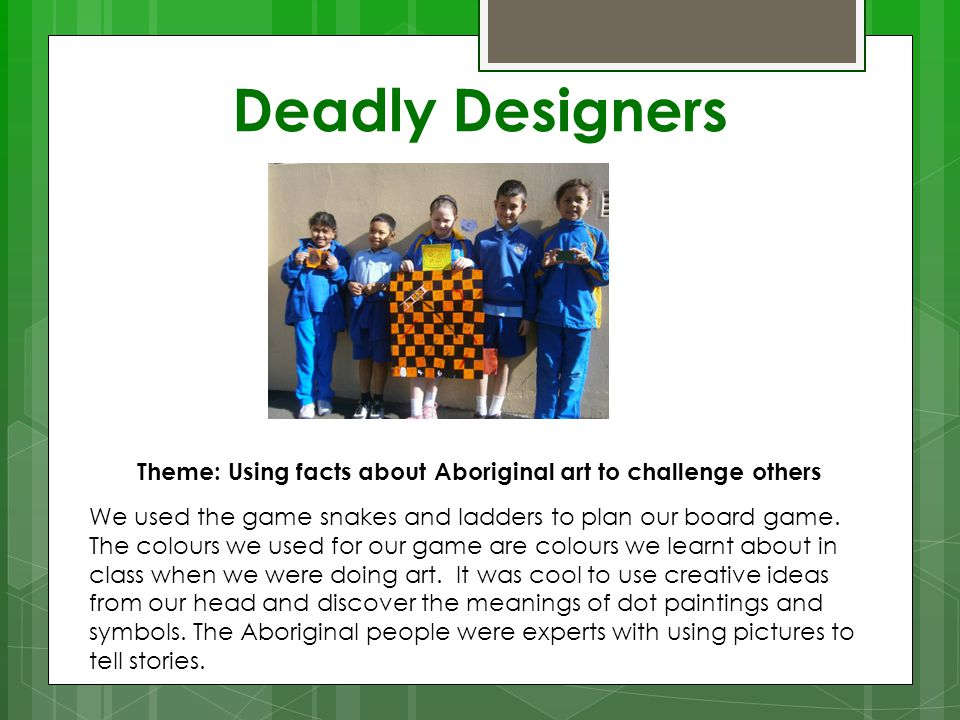 Theme: Using facts about Aboriginal art to challenge others