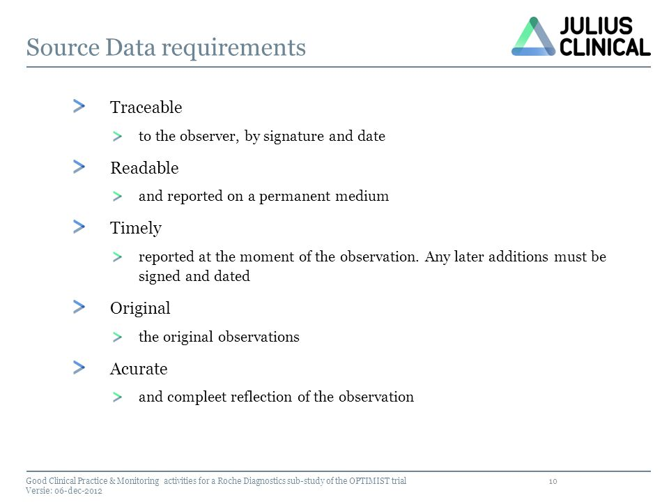 Source Data requirements