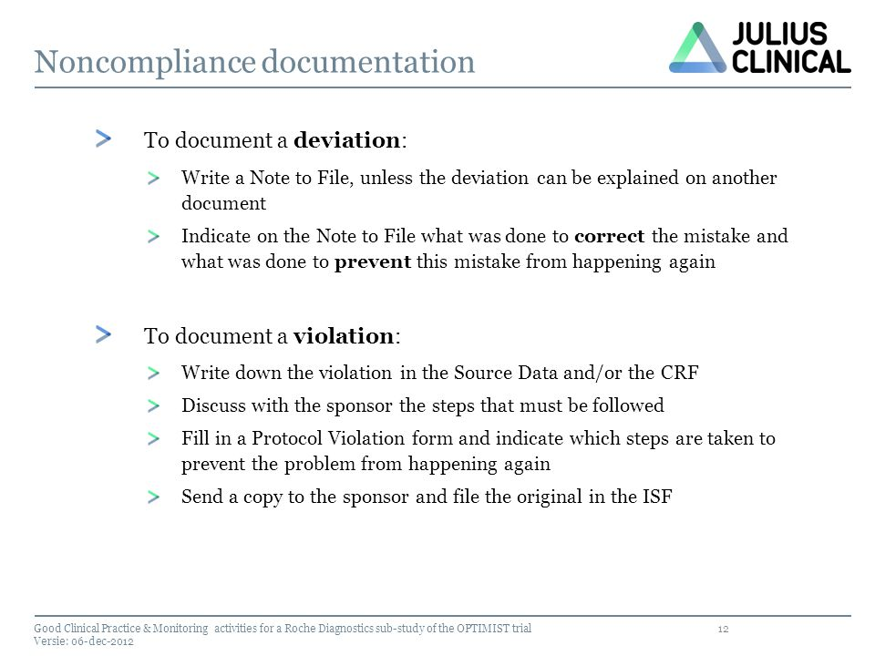 Noncompliance documentation